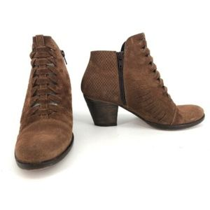 FREE PEOPLE Booties Suede Woven Brown Leather 7.5